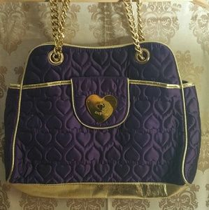 Betsey Johnson XL purple heart quilted tote